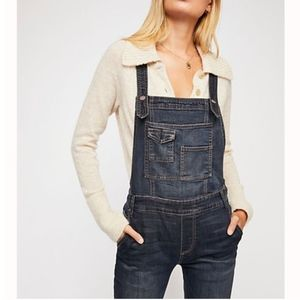 Free People Washed Denim Overalls Size 27
